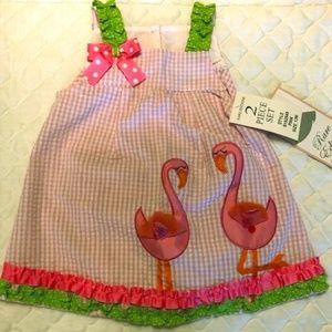 Rare Editions two piece flamingo dress set